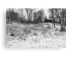 Winter Barn 1 - Black and White Canvas Print