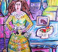 Woman with Dog and Fan by artqueene