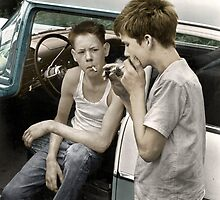 Cornett boys smoking by car by apxq12