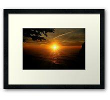 SUPER SUNSET OREGON COAST Framed Print