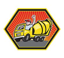 Construction Worker Driver Cement Mixer Truck  by patrimonio