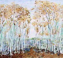 Aspens, acrylic with mica on canvas by Regina Valluzzi