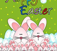 Easter Card With Easter Bunnies And Eggs, Hoppy Easter by Moonlake