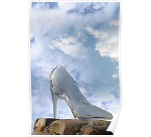 glass high heel shoe on rocky stone surface Poster