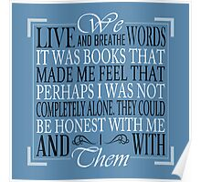 We Live and Breathe Words (Blue) Poster