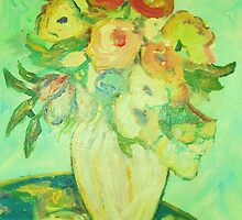 Green Floral Still Life by artqueene