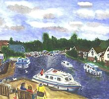 View from Wroxham Bridge Norfolk Broads Watercolour Print by CreativMichelle