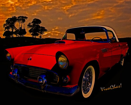 Old Trevor's 56 T-Bird in red out at the sheep station round bout sundown by ChasSinklier