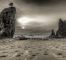 Sunset over the Rialto Beach Sea Stacks by Jim Stiles