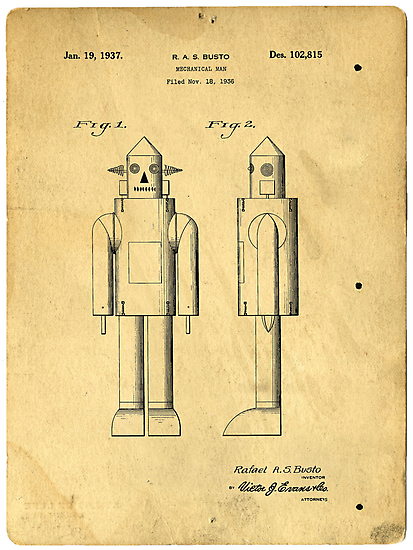 Mechanical Man Patent by Edward Fielding