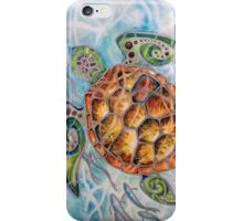 """Honu Island Waters"" Tropical Tribal Sea Turtle Painting by Christie Marie Elder-Ussher iPhone Case/Skin"