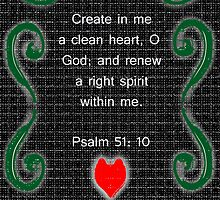 Greeting card....Psalm 51: 10 by Deborah Lazarus