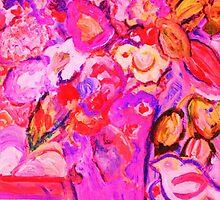 Hot Pink Floral Still Life by artqueene