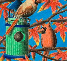 Cardinals In Fall by jkartlife
