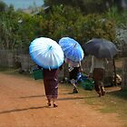 A Trio of Umbrellas - Laos - Vintage Finish by Tricia Mitchell