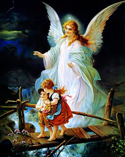 Heiliger Schutzengel  Guardian Angel and Children Crossing Bridge by Adam Asar