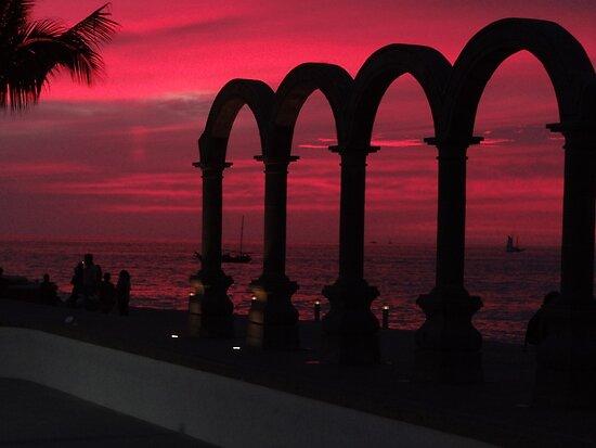 Sunset At Los Arcos - Puesta Del Sol by Bernhard Matejka