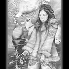 Sedna, Inuit Goddess of the Sea (B&W) iPad Case by Genevieve  Cseh