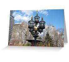 Classic Lamp, City Hall park, Lower Manhattan, New York City Greeting Card