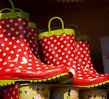 White Polka Dot Rain Boots by phil decocco