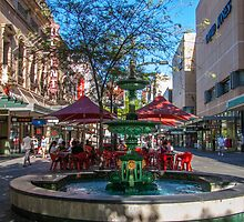 Rundle Mall - Fountain, cafe, Looking down the Mall by DPalmer