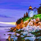 Bass Harbor Head Light at sun by Marsea