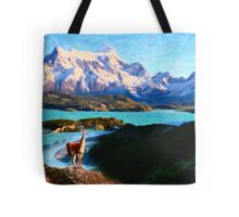 Torres del Paine National Park and the Llama, Chile Tote Bag