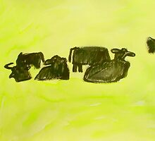 herd of cows relaxing in lush pasture by donnamalone