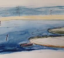 Sandbank & High Tension Wires by ROSEMARY EAGLE