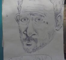 Self-portrait -(140313)- blue biro pen/A5 sketchpad by paulramnora