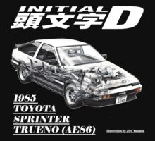 Initial D AE86 design in white words by benyuenkk