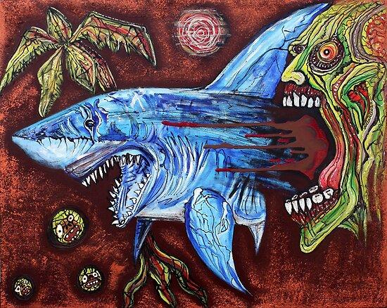 Zombie Eats Shark by Laura Barbosa