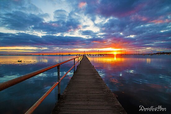 Griffiths Gully Jetty Sunrise by Danielle  Miner