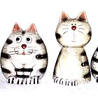 Four funny cats by Katharina Hilmersson