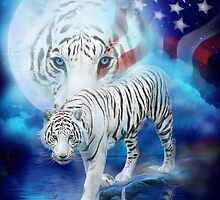 Patriotic Tiger Moon by Carol  Cavalaris