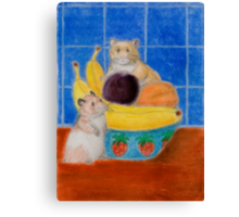 Hamsters In Fruit Bowl Canvas Print