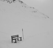 Winter Bench and little Sun, Bregalga, Switzerland by itchingink
