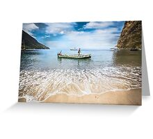 Caribbean fishermen Sugar Beach St Lucia by Heather Buckley Greeting Card