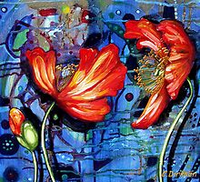 Iceland Poppies on Blue by Cherie Roe Dirksen