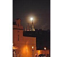 Full Moon At St.Vitus Cathedral Prague. Photographic Print