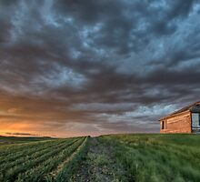 Old School house and sunset by pictureguy