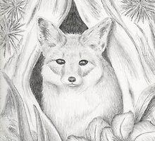 Desert Fox in Hallow Tree by jkartlife