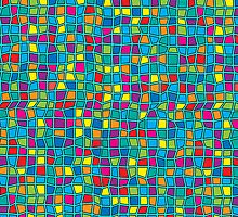 Colorful Stained Glass Look Geometric - Blue Tint by artonwear