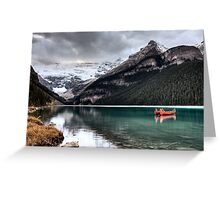 Lake Louise Glacier  canoe and emerald color Greeting Card