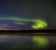 Night Shot Northern Lights Saskatchewan Canada by pictureguy