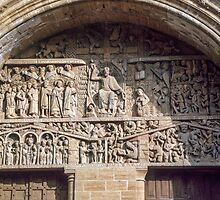 Tympanum over front door Conques Abbey Church 198402280056  by Fred Mitchell
