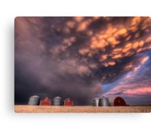 Sunset Storm Clouds Canada lightning granary Saskatchewan Canvas Print