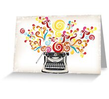Creativity - typewriter with abstract swirls Greeting Card