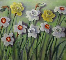 Daffodils Swaying by Randy  Burns