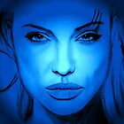 angelina jolie portrait in blue by ralphyboy